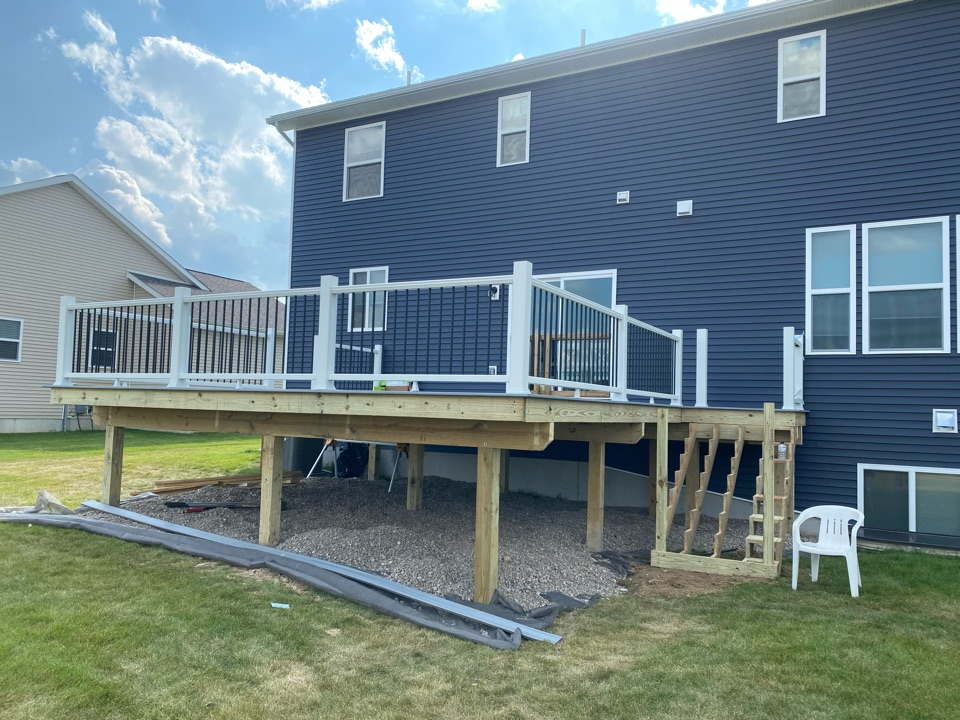 Howell, MI - Two days of hard work and this Trex deck is really coming to life!