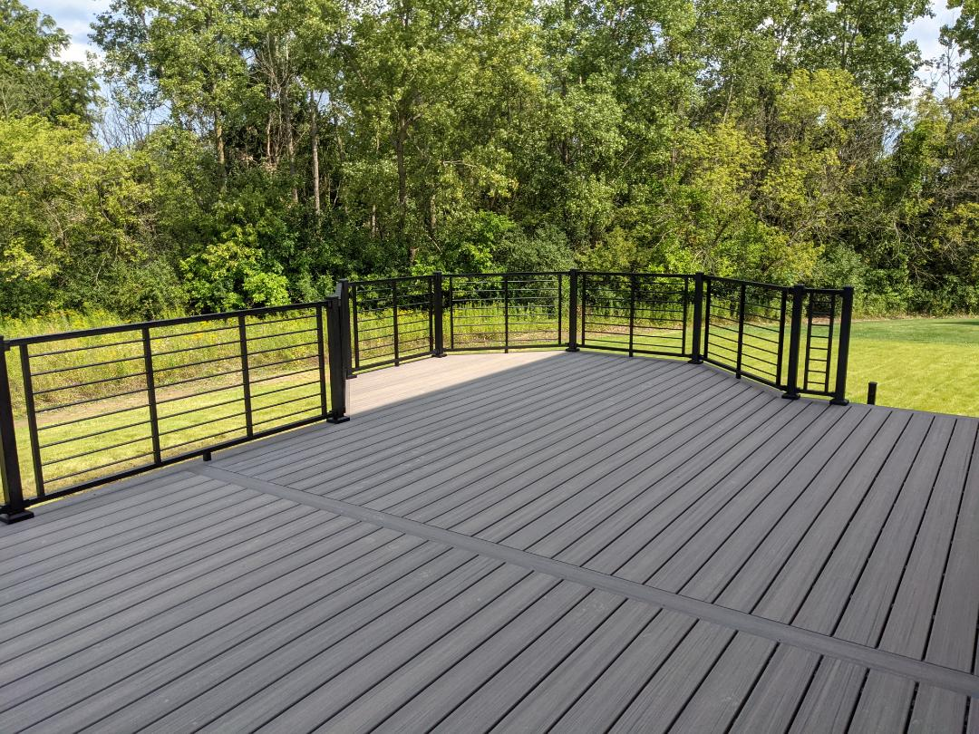 Another beautiful trex deck we have rocky harbor decking and signature black rod rail looks good together here in canton