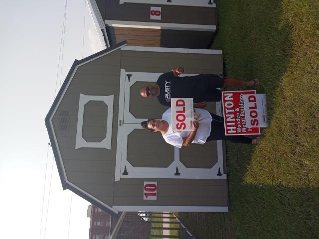 Clayton, NC - The Taveras family stopped in today and purchased our 10x20 lofted barn. Thank you for choosing Hinton Buildings.