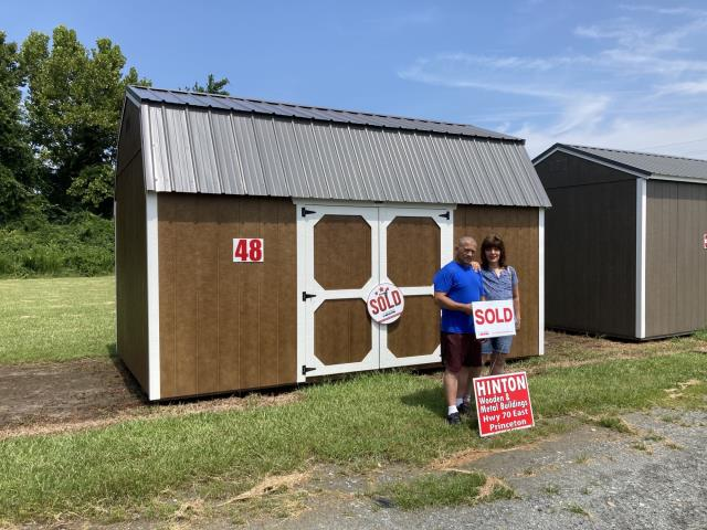 Pikeville, NC - Sold Rickey and his wife this 10x16 lofted barn for storage of his lawn mower and other lawn tools.