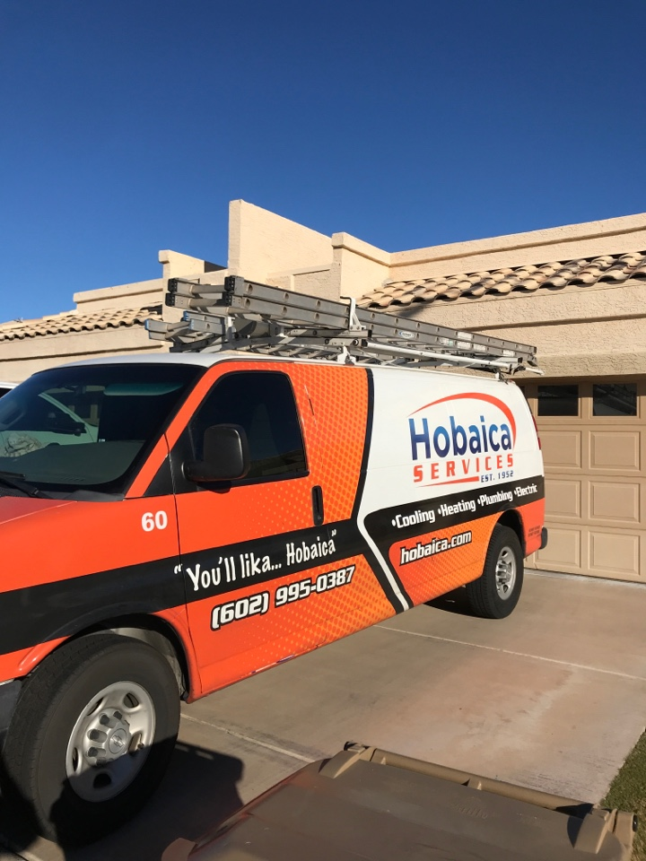 Peoria, AZ - I completed the heating maintenance on a Daikin package heat pump. I change the air filter, tested the thermostat, checked temperatures, checked refrigerant pressures, check and test capacitors and motors amp draw. Flushed drain pan and drain line. There is nothing unusual to report at this time. Thank you for choosing Hobaica!