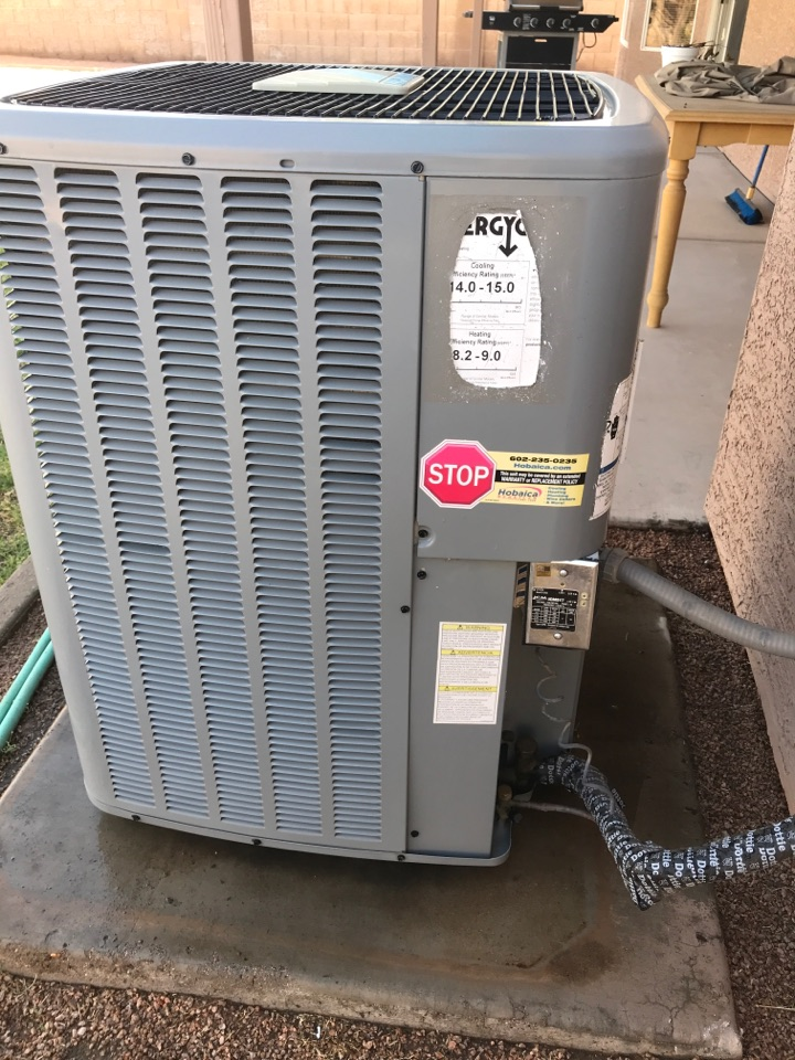 In Gilbert Arizona, I completed a scheduled maintenance on a Daikin split heat pump. I checked indoor temperature splits, indoor airflow, indoor motor amp draw's, capacitors, I checked rinsed and flushed the drain line. The drain has a blowout valve which I use nitrogen to blow through the line. I informed John of adding a start assist kit down the road as it helps the compressor on start up which should allow the compressor to last longer. Thank you for choosing Hobaica!