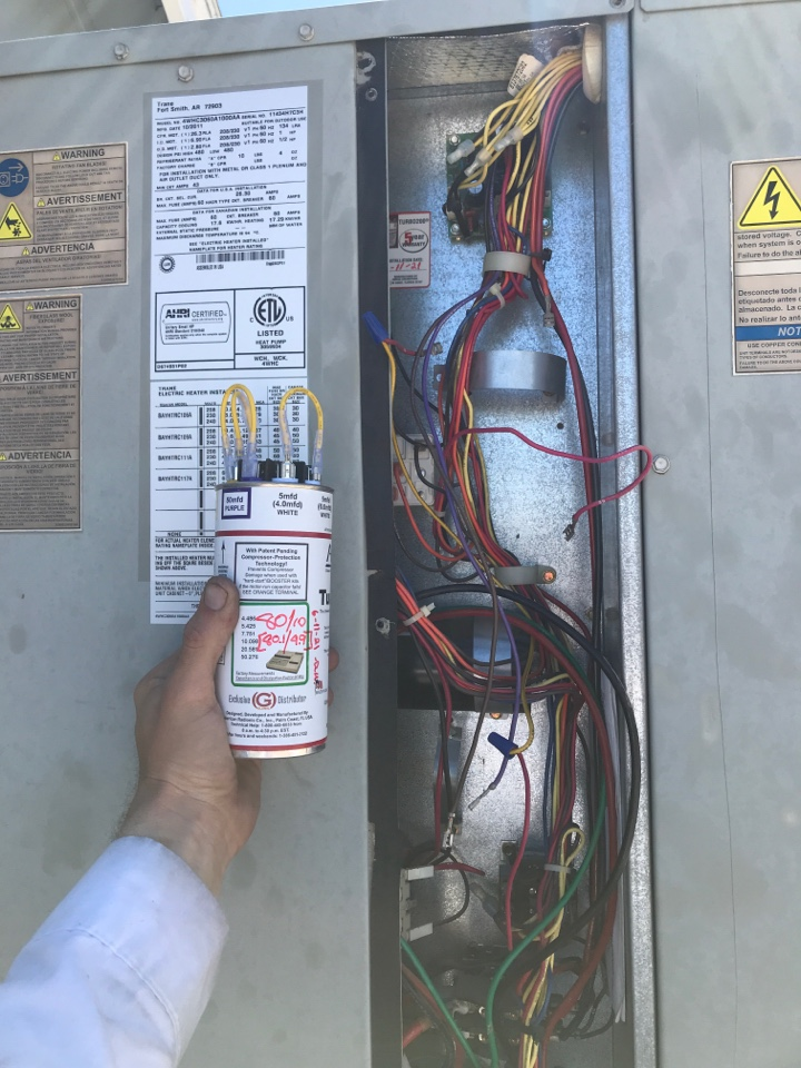 Mesa, AZ - In Mesa Arizona, I completed a promotional inspection on two package heat pump units, a train unit and an American best unit. Recorded indoor temperatures, amp draw of all motors, tested all capacitors, inspected all coils, inspected drain pan and drain line, checked refrigerant charge and pressures, tightened all electrical connections. Trane unit had bad run capacitors that I changed out for a TURBO200x 80/10mfd with Merrill's approval. Both units are now operating properly.