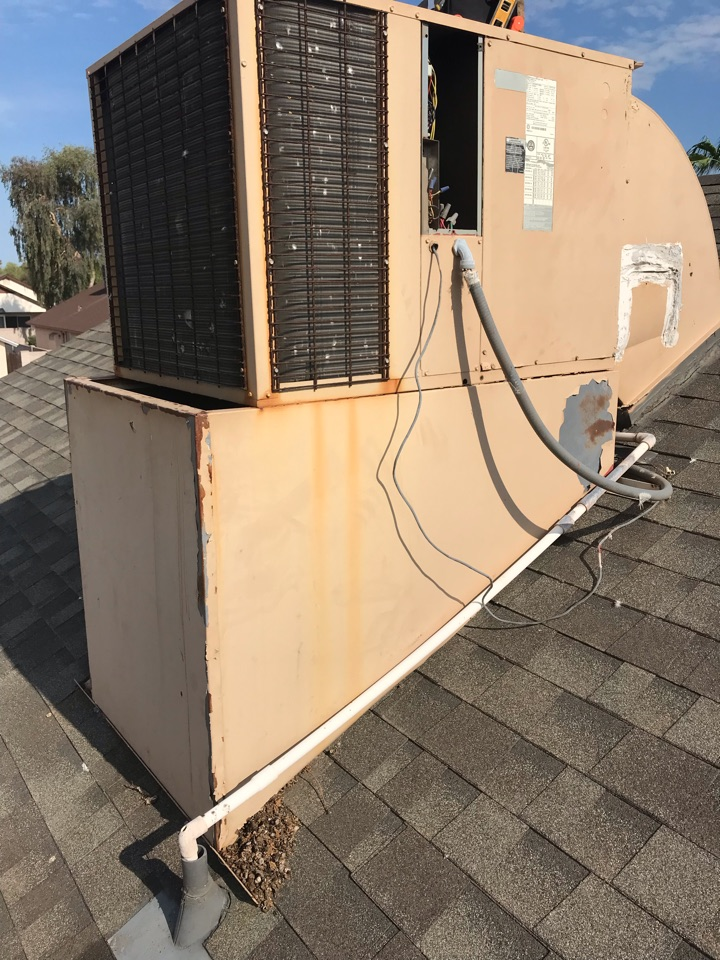 In Scottsdale Az, performing a promotional HVAC inspection on a 2002 Trane PKG heat pump. I checked thermostat function, checked indoor temps, indoor motor amp draw and tested its capacitor which is testing outside the 10% loss range. No action was taken for this capacitor today, there are electrical issues with low and high voltage wiring which has been shared and shown to Stephanie. A request for quote has Been scheduled today for 3-5pm with Andy H. Unit is operating at this time! Thank you!
