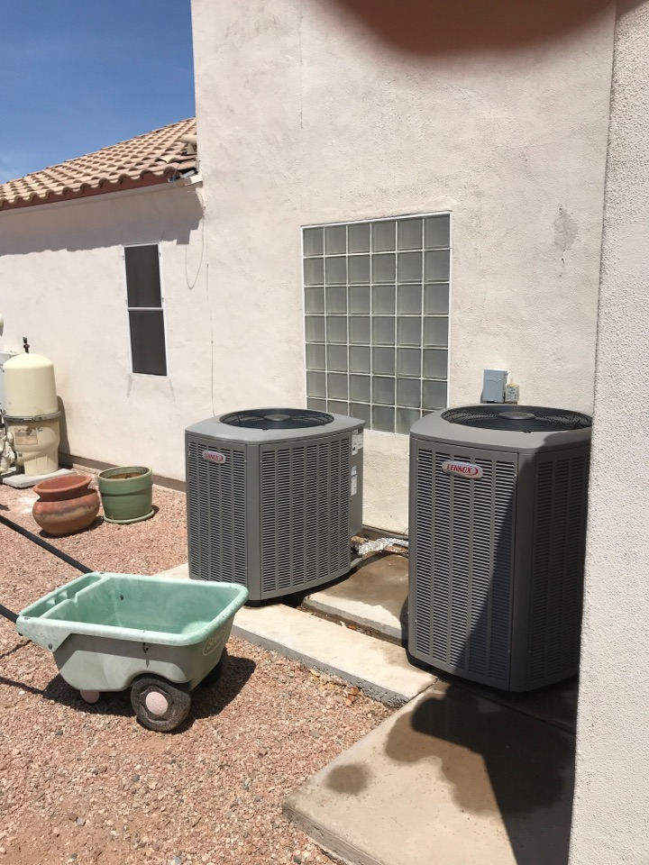 Gold Canyon, AZ - In gold canyon performing a scheduled maintenance on to Lennox inverter split heat pump systems. I inspected the filters, ductwork and airflow, indoor temperature differential, amp draw motors, checked and tightened all electrical connections. Checked refrigerant pressures at condenser, checked amp draw of compressor and outdoor fan motor. Both units are operating properly at this time. Thank you for choosing Hobaica services!