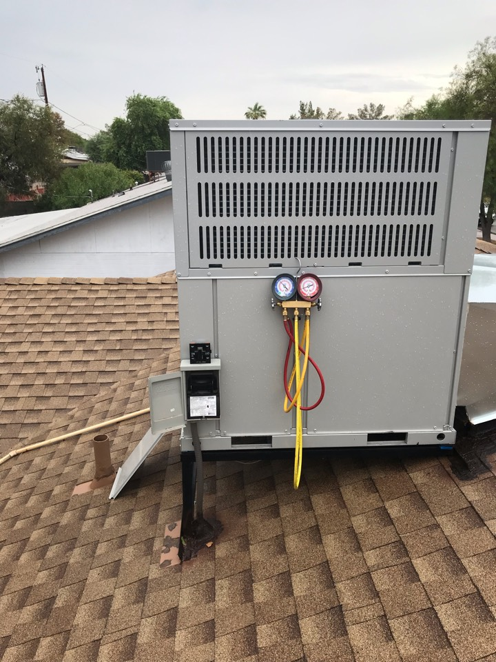 Tempe, AZ - Performed maintenance in cooling on the Bosh php. I Checked coils, electrical, capacitors, controls, safeties, airflow, temperature split, refrigerant pressures, motors and bearings, compressor and amperages, flushed condensate drain line with water. System is operating normally and readings are within manufacture specifications at this time. I recommend a TCC maintenance plan at this time, customer said he will think about it and call us back. Thank you for your continued confidence.