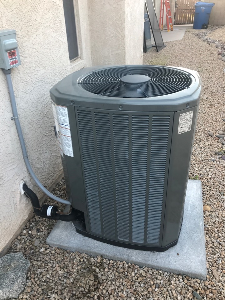 Mesa, AZ - In Mesa Arizona completed a scheduled maintenance on a train split furnace and straight cool unit in cooling mode, I inspected the return grill and changed the air filter, engage thermostat in the cooling mode, checked indoor temperatures, checked indoor airflow, checked indoor blower amp draw, no capacitor, checked and cleared drain line and drain pan. Check refrigerant charge, checked compressor amp draw, checked outdoor fan motor, checked all high-voltage connections and dusted off controls