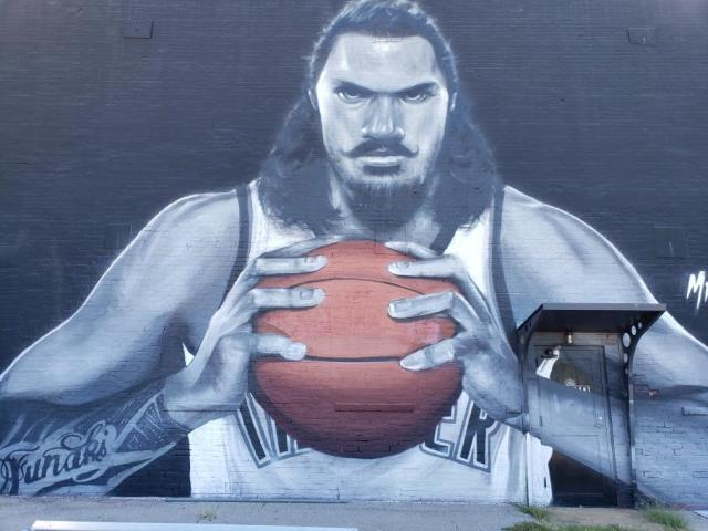 "Oklahoma City, OK - Have you seen the Steven Adams mural located at the Paramount building located in downtown OKC? We have! Thunder and ""lighting"" for this electrical project!"