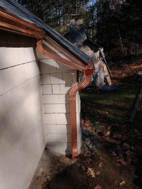 """Andover, CT - 5"""" K style copper gutter installation"""