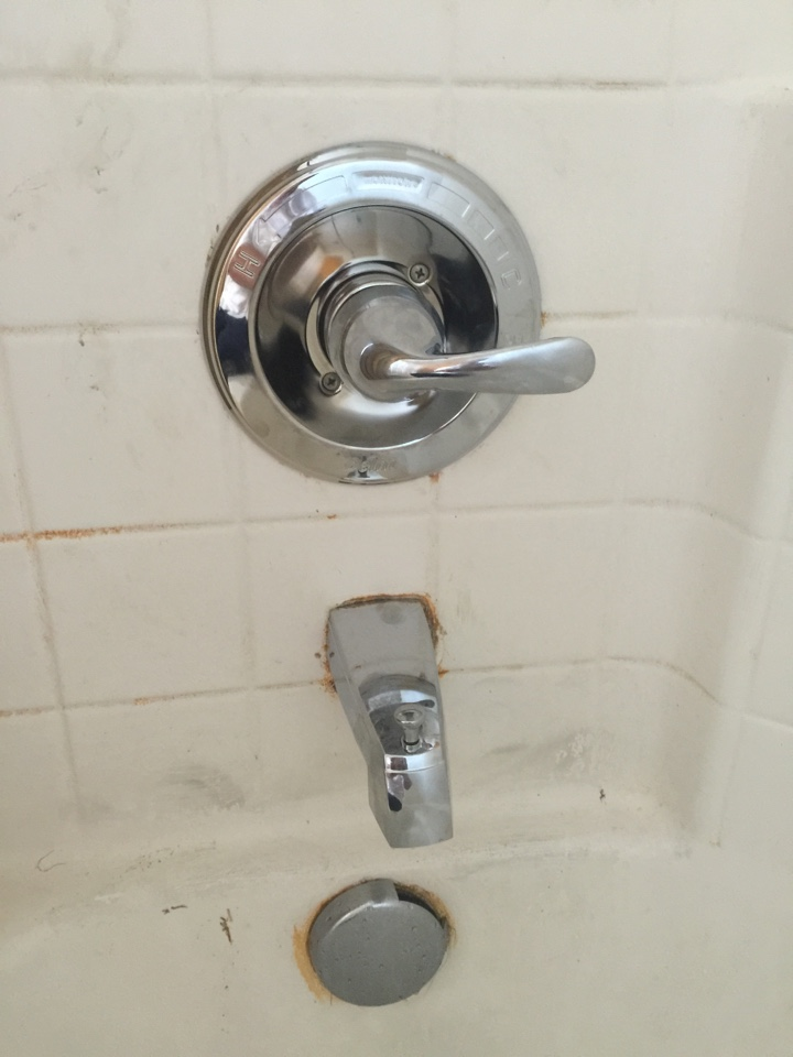 Broken tub/shower cartridge and handle in hallway restroom. Turn off water to the home and installed new Delta shower cartridge. Turn water back on to home and checked for leaks. Installed new tub/shower trim, handle and tub spout