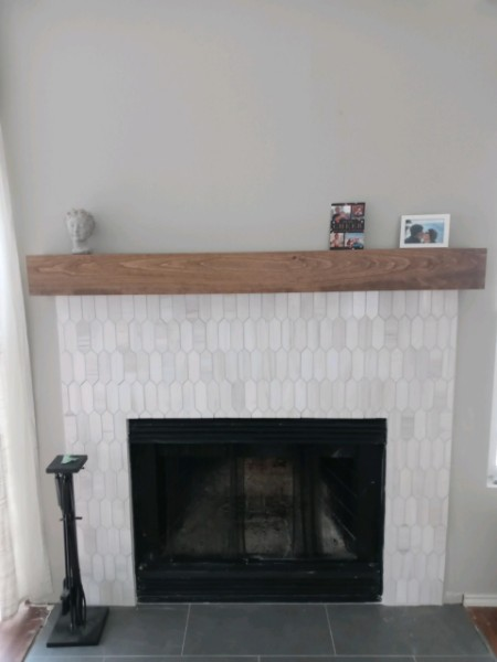 Austin, TX - Demo all mantel and tile around chimney. Installed new tile and mantel
