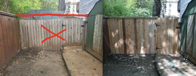 Austin, TX - Remove old rotten fence and build a new one to match existing fence. We are done building and int the process to get it stained