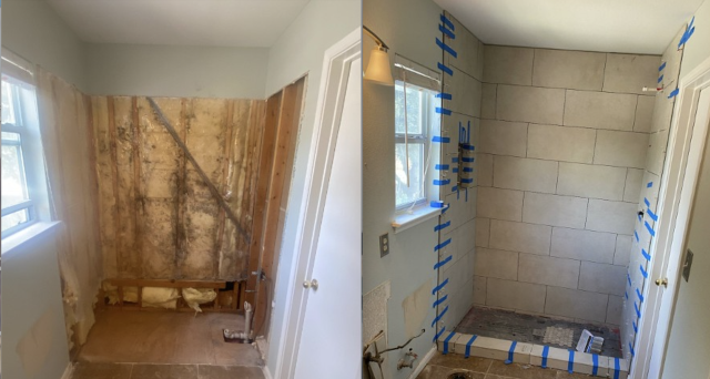 Cedar Park, TX - Demo old bathtub and shower, waterproof shower walls and shower pan, install tile and grout, ready for glass doors installation