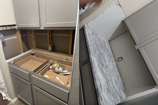 Austin, TX - In the process of installing counter tops and doing the drywall repairs in preparation for backsplash.