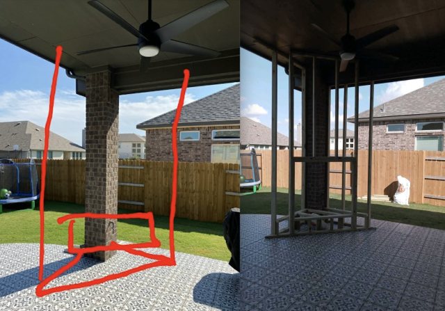 Leander, TX - Clients idea vs in the process of building it. Fireplace in patio!