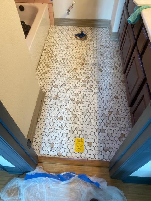 Austin, TX - Bathroom floor tile ready to grout!!
