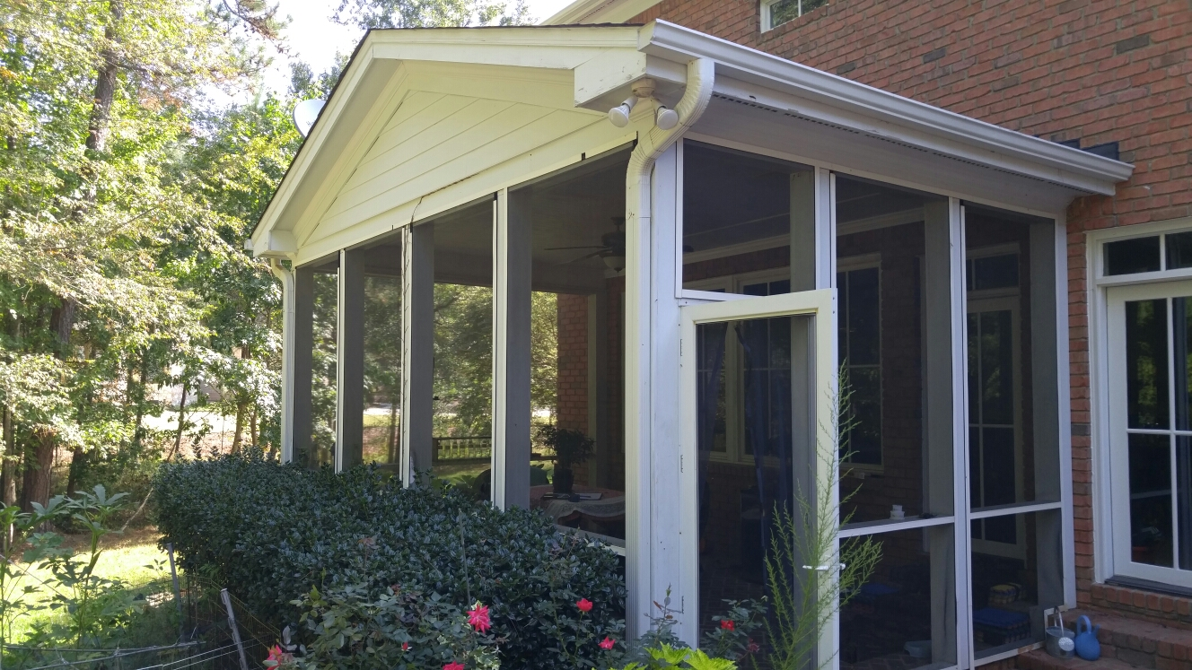 Morrisville, NC - Production Measure to turn a existing Screen Room into a Four Season Sunroom. Using Tempered Picture Windows and Vinyl Casement Windows.