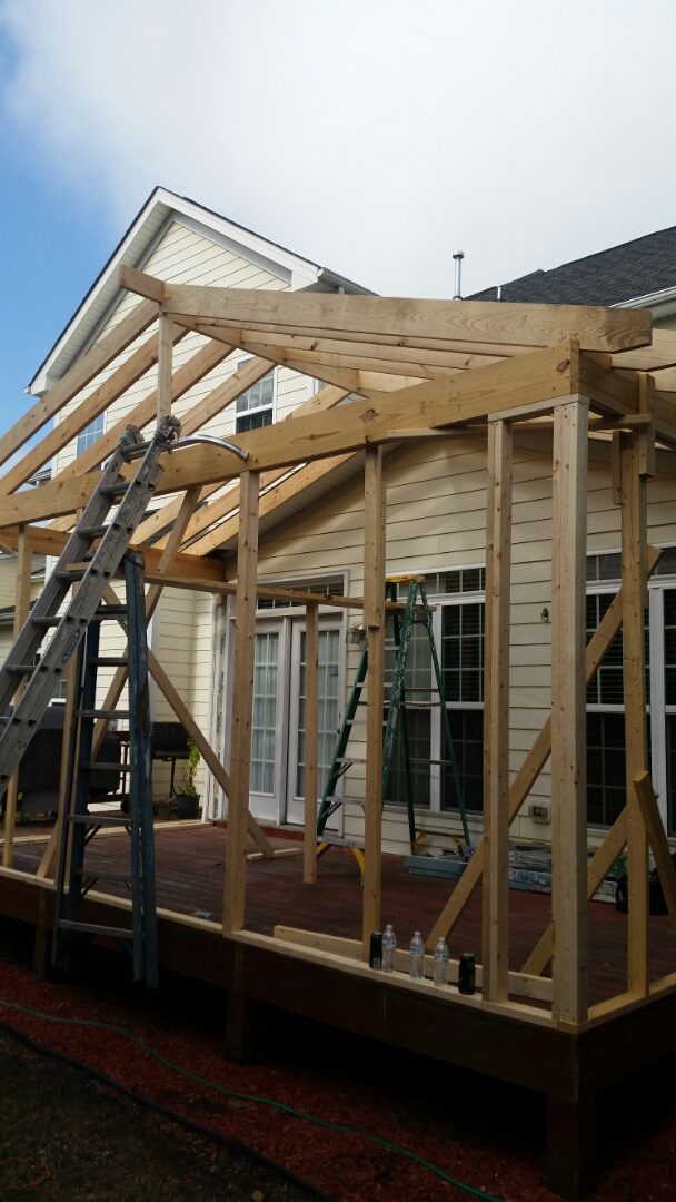 Morrisville, NC - Deck conversion into a three Season room. Project will include vinyl windows a vinyl patio door HVAC and recessed lighting. Exterior will be Hardie board.