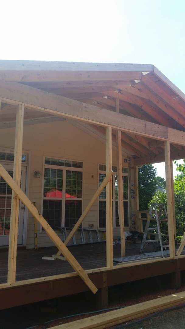 Morrisville, NC - Progress photos on 3 season room project. Framing about complete.