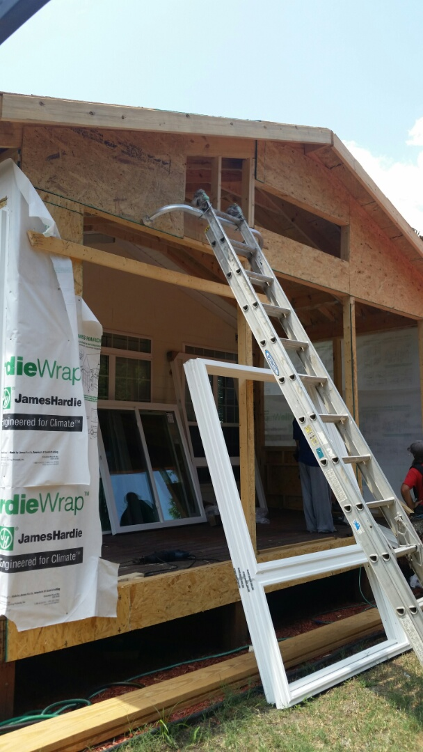 Morrisville, NC - Continued progress on converting a deck into a 3 Season room. Windows and doors are being installed