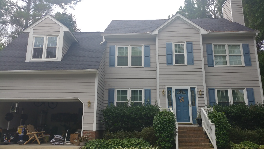 Holly Springs, NC - We installed vinyl replacement windows energy star-rated along with a new CertainTeed architectural shingle roofing system in 2016 we are now estimating to remove the existing masonite siding and replace it with Hardiplank fiber cement siding including color plus technology.