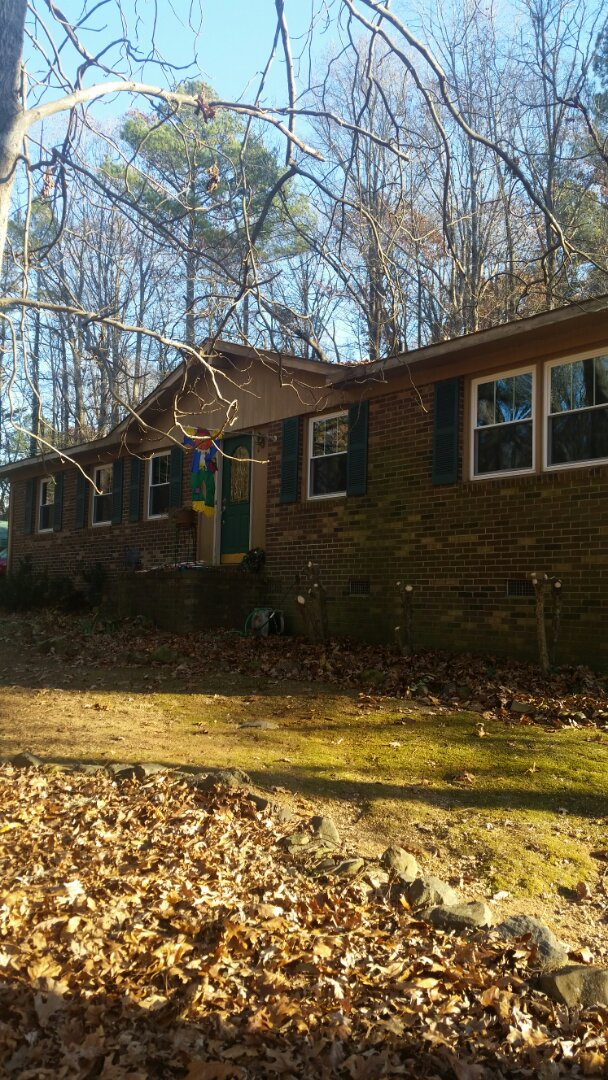 Hillsborough, NC - Removed 13 wooden windows and install 13 vinyl replacement windows. Also camping all windows with tan aluminum coil
