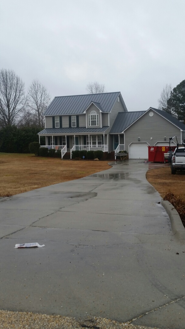 Pleasant Grove, NC - Previous customer that we install new vinyl siding now we have replaced a shingle roof with a new metal roof.