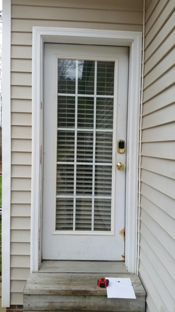 Garner, NC - Future project replacing prehung exterior door with nude prehung exterior door also installing a storm door
