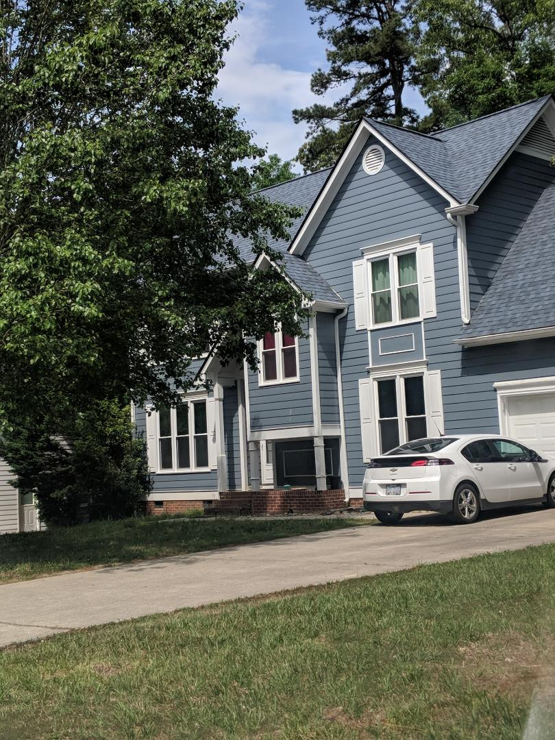 Durham, NC - Recently completed project in Durham. Replaced roof with new 30-year architectural shingles and also removed 20 wooden Pella Windows and replaced with 20 energy-efficient vinyl replacement windows.