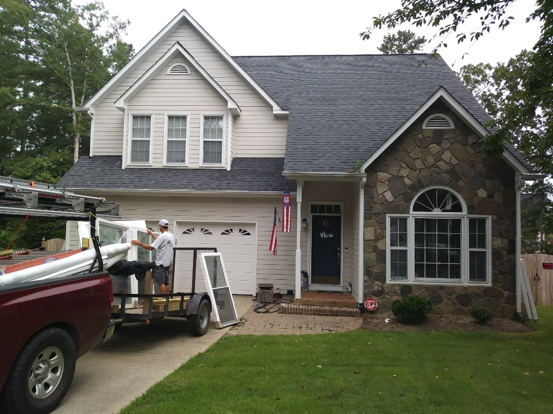 Cary, NC - New project starting today in Cary. Removing 29 aging spells wood windows and replacing with 23 energy efficient vinyl replacement windows. Also replacing an exterior door with a new provia door