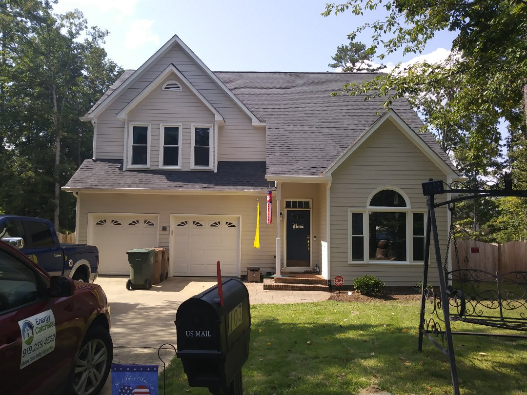 Cary, NC - Recently completed project in Cary. Removes 20 failing Anderson wood windows and replaced with 20 energy efficient low E and Argon gas vinyl replacement windows. Also replacing front entry door with provia entry door. While installing windows a large amount of wood rot was discovered. Stone removed from customers front wall wall totally rebuilt and finished out
