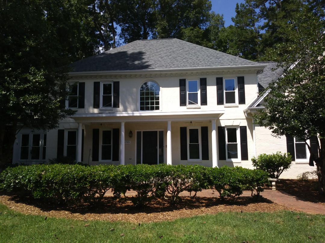 Raleigh, NC - Current project in North Raleigh. Removed 34 wood Pella Windows and replaced with 34 energy efficient insulated vinyl replacement windows. Also capping 37 windows with white aluminum.