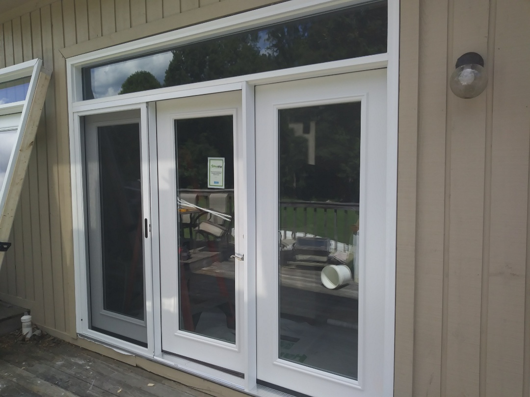 Apex, NC - Current project in Chapel Hill. Removing to single exterior doors and to 3 panel doors with a transom and replacing with new provia doors. When removing one of the three panel doors wood rot was discovered and is being removed and replaced by energy catchers