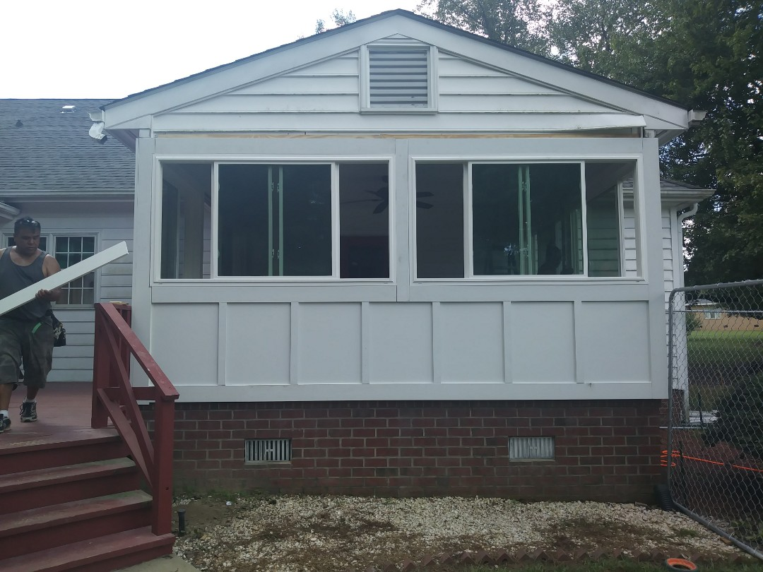 Raleigh, NC - Current project in Raleigh. Converting a screened porch to a 3 season room. Installed new energy efficient windows, built knee wall that is insulated, installed bead board. Also full trim out and wrapping fascia and installing gutter guards.