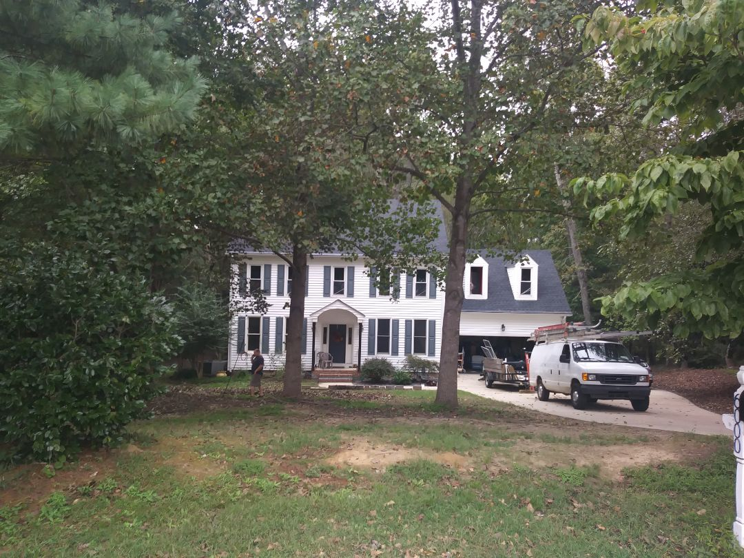 Fuquay Varina, NC - Current installation in Fuquay Varina. Removed 23 aging Anderson wood windows and replacing with 23 energy star rated vinyl replacement windows. Low e and argon gas.