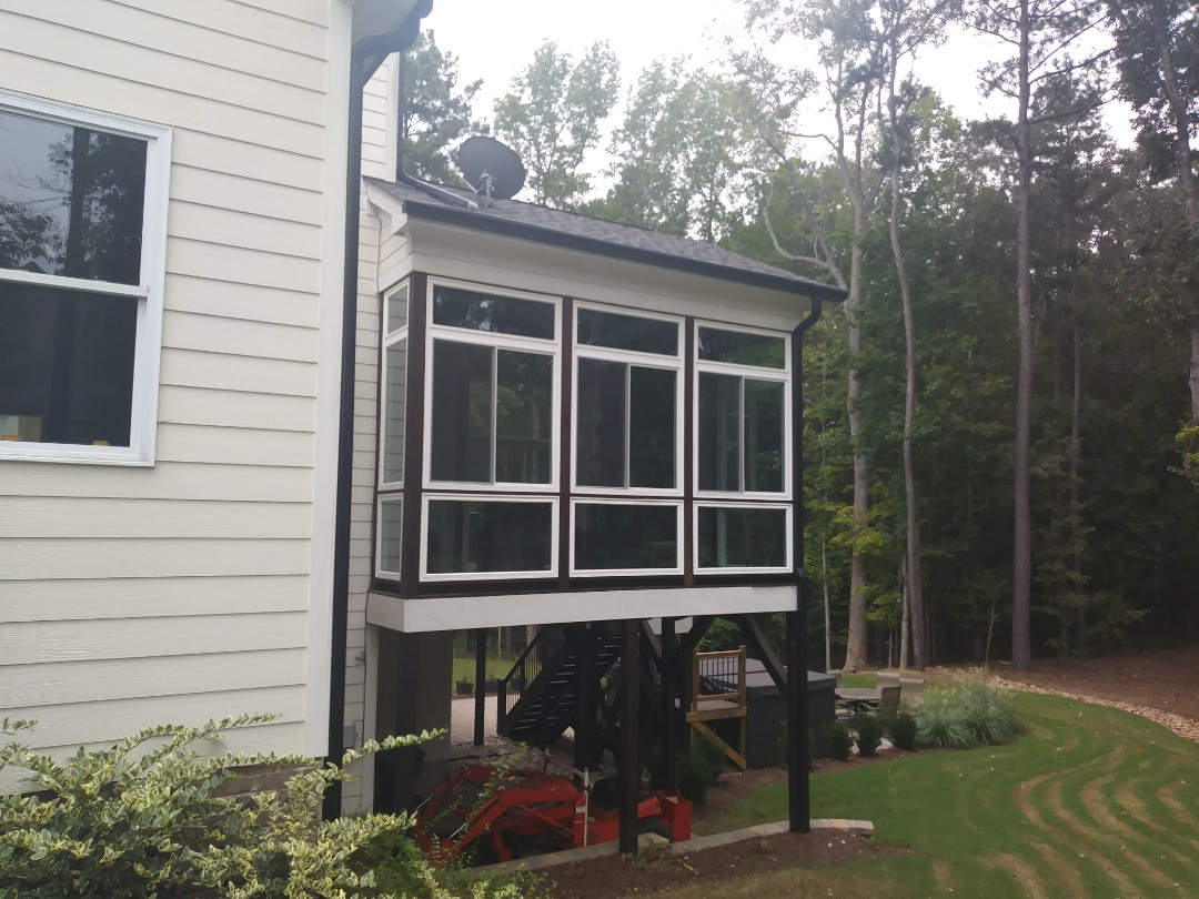 Wake Forest, NC - Recently completed screen porch conversion in Wake Forest. Remove screen and installed Windows to make torch a 3 Season room. Customer had an issue with a sash energy catchers stands by their product and its glad to service our customers.