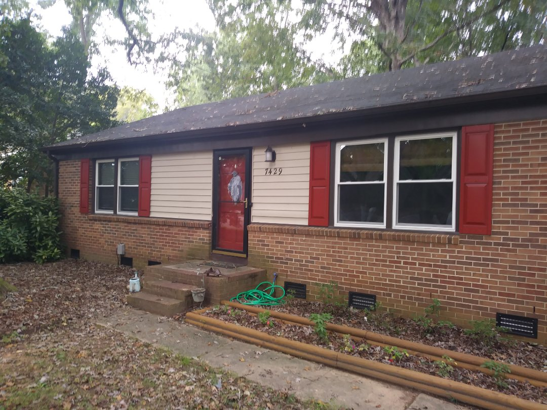 Completed project in Raleigh. Remove 10 wood windows and replace with 10 energy-efficient vinyl replacement windows. Also removed old capping and installed new dark brown capping to match trim