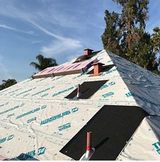 Riverside, CA - Our men removed one layer of composition roofing and installed Owens Corning Titanium ULD30 underlayment as well as Owens Corning Weather Lock - Ice and Water Shield in crutial areas.