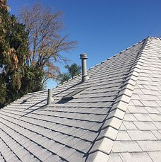 Riverside, CA - This is the finished result using Owens Corning Tru Def Duration Sure Nail Shingle Roof System in color Shasta White and Owens Corning Low Profile Slant Back Vents.