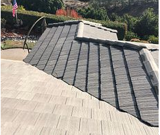Riverside, CA - Customer called in looking for  a leak repair. After further review, our technician found the valley tiles were too close together not allowing the water and debris to go through the valley and causing a leak.