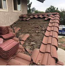 Moreno Valley, CA - Our men removed existing tiles and put the unbroken ties neatly to the side and removed all broken tiles.