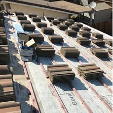 Rialto, CA - Our men removed existing tiles, placed them aside and installed 1 layer of Boral Tile Seal SA Underlayment and Boral Elevated Battens.