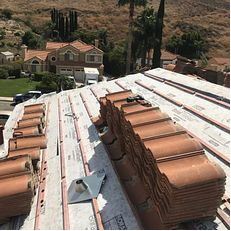 Colton, CA - Our men removed the existing tiles and placed them aside. After removing the existing underlayment they installed Boral Tile Seal HT Underlayment and Boral Elevated Battens.