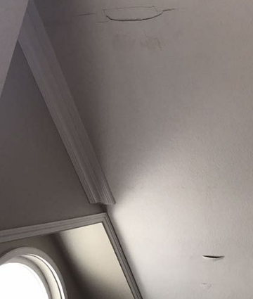 Corona, CA - We got a call from a customer who had a leak in their living room. As you can see, the leak has made its way into the home and caused damage to the ceiling.