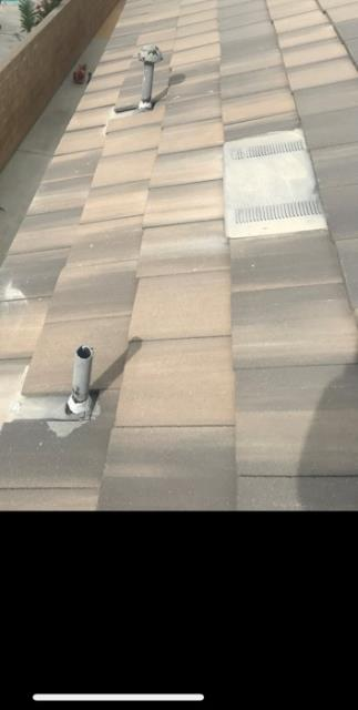 Jurupa Valley, CA - Finished standard concrete tile repair using two layers of 30 lb Fontana Felt paper. Replaced broken tiles with standard weight boral tile.