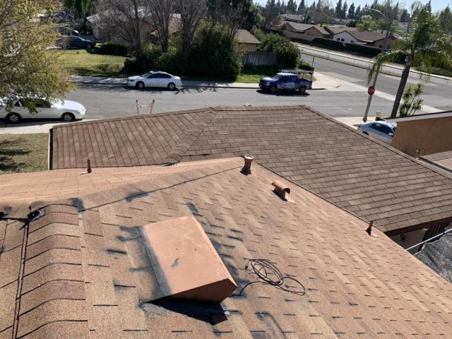 Riverside, CA - This client called us for a leak they had. Upon inspection we found that the shingles around this vent have distressed shingles that need to be replaced. Shingles will be Owens Corning Oakridge Shingles.