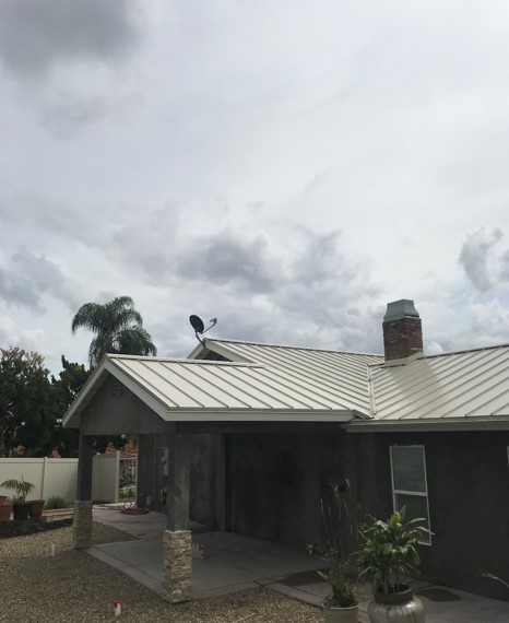 Riverside, CA - After the underlayment we installed the Metal Sales Image II roofing just like we had previously done to the rest of the house.