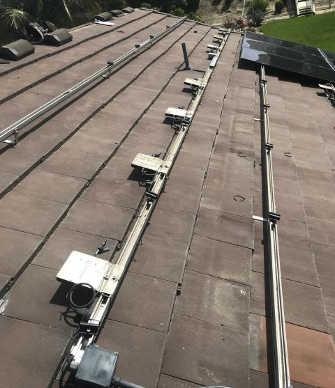 Yorba Linda, CA - This customer needed a new roof and already had solar panels installed. The entire system was removed and reinstalled with new stanchions.