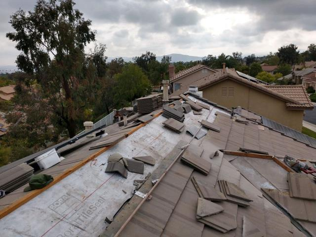 Corona, CA - We removed the tile from the damaged area and installed one layer of Boral Tile Seal Ice & Water Shield.