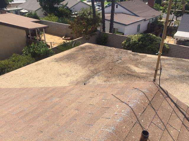 Riverside, CA - This customer reached out to us to reroof their home. We removed 2 layers of composition roofing. We then inspected the deck and replaced up to 3 sheets of OSB plywood.